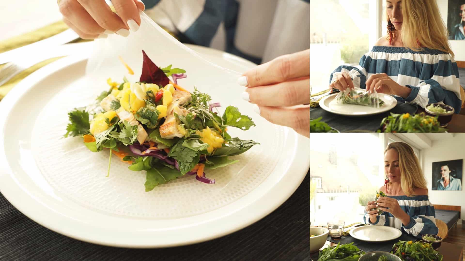 Handarbeit: nach Belieben werden die Zutaten am Tisch mit dem Reispapier zu Rollen gedreht