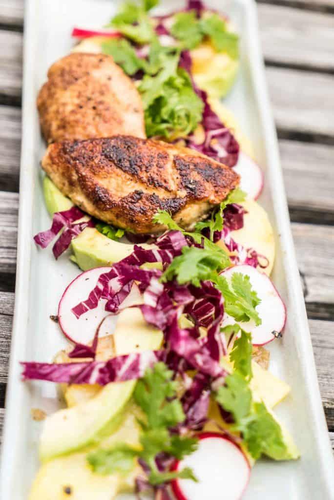 Avocado Kartoffel Salat mit Schnitzelchen