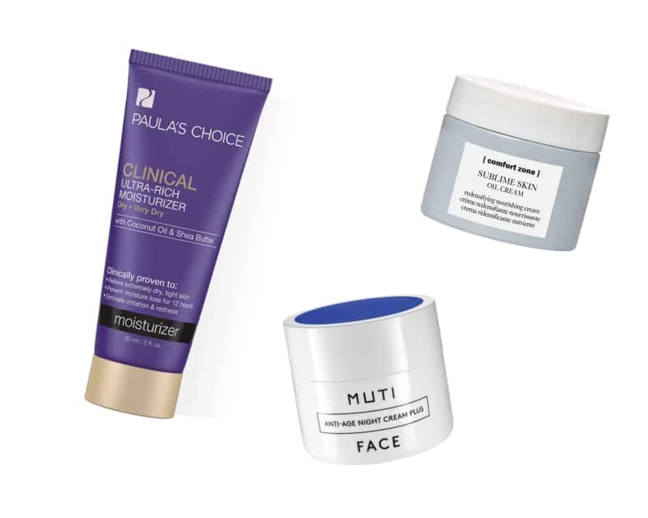Die besten Produkte gegen trockene Haut: Ultra Rich Moisturizer von Paula's Choice, Sublime Skin Oil Cream von Comfort Zone und Anti Aging Cream Plus von Muti