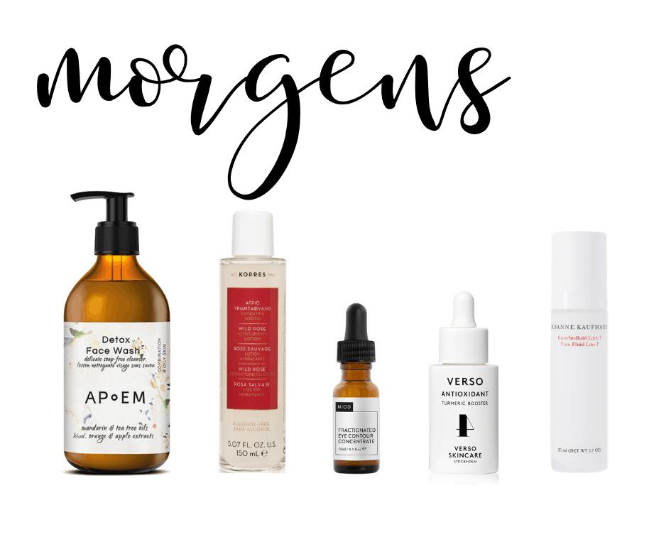 Produkte Skincare Routine im Sommer morgens